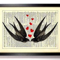 Swallows In Love, Vintage Dictionary Print, 8 x 10