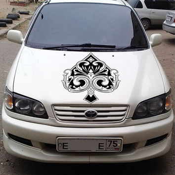 playing cards car hood decal Spades Car Decals Spades Car Truck skull Side Body Graphics Decal Sticker for car kikcar ikcar87