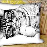 Mac Cat - Pillow Cover and Pillow Case.