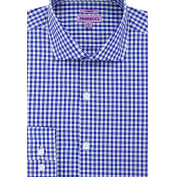 The Blue Gingham Check Slim Fit Cotton Dress Shirt