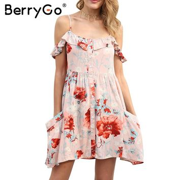 BerryGo Off shoulder strappy summer dress women Floral high waist button mini dress female Spring pocket floral boho dress 2018