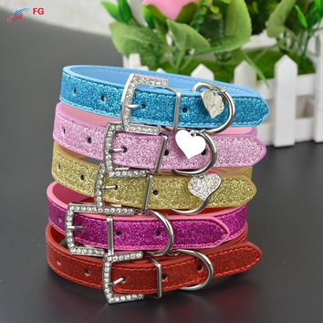 New Fashion Bling PU Leather Dog Collar with Heart Crystal Pendant Puppy Dog Pet Necklace Collar