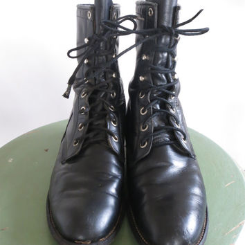 Vintage Justin Boots • Made in USA • 90s Leather Lace Up Combat Roper Kiltie Riding • 1990s  Western Footwear • Size 7 1/2 B Women