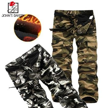 2017 New Brand Man Military Army Cargo Pants Plus Velvet Pants Overalls Casual Baggy Korean Version Camouflage Trousers Men OFY