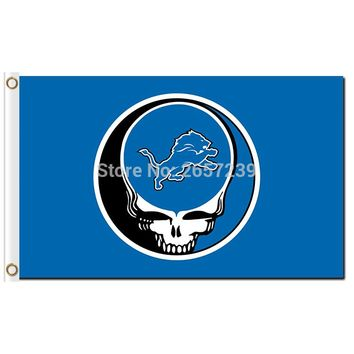 Detroit Lions Stealing Your Face Flag 3x5FT NFL banner 100D 150X90CM Polyester brass grommets custom66,free shipping
