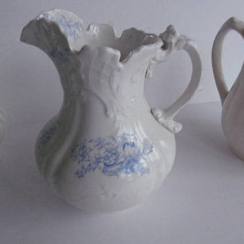 Blue Transferware Pitcher Antique Blue and White Ironstone Blue and White Decor Victorian Antiques Dresden Blue Transferware Pitcher