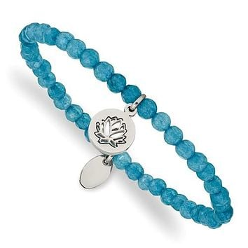 Stainless Steel Lotus Charm Blue Jade Beaded Stretch Bracelet