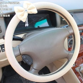 Car Steering Wheel Cover with Decorative Bow and Pearl - VL Life Design