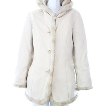 Jones New York womens jacket size small off white/cream faux fur