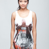 Guitars Gibson T Shirt Music Rock Metal White T-Shirt Vest Tank Top Singlet Sleeveless Size S M