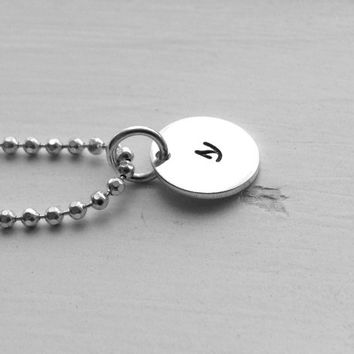Small Initial Necklace, Sterling Silver Jewelry, Letter s Necklace, Initial Jewelry, Hand Stamped Jewelry, Small Letter s, Charm Necklace, s