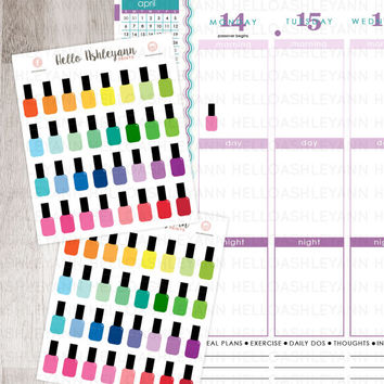 32 Rainbow Nail Polish Stickers for YOUR planner! | Erin Condren Planner / Plum Paper Planner / Filofax / Kikki K / Planner