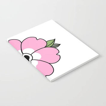 Flower Notebook - White with Pink Flower - Blank Book - Lined - Unlined - Made to Order