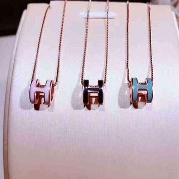 PEAPYV2 Hermes Woman Fashion Logo Plated Necklace Jewelry