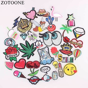 ZOTOONE Sew On Sequin Flamingo Rose Patch Heart Iron On Letter Badges Clothes Stickers Cheap Embroidered Patches For Clothing