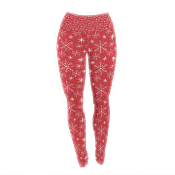 "Julie Hamilton ""Snowflake Berry"" Holiday Yoga Leggings"
