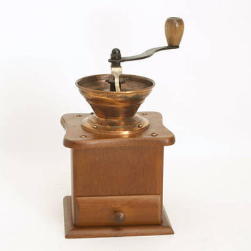 Vintage Copper Coffee Mill, ODI Hand Crank Nut Grinder with Wood Base
