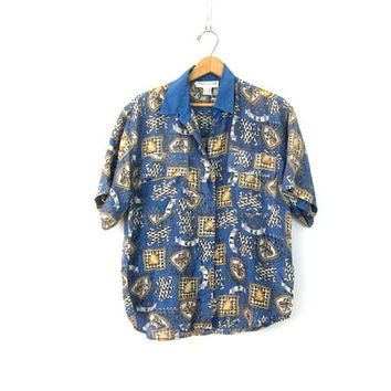 Vintage Silk Blouse | 90s Blue Button Up Shirt | Basic Oversized Modern Printed Button Down Silk Tee Loose Fit Top Womens Medium