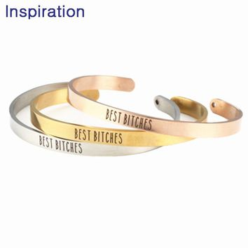 2018 Jewelry Stainless Steel BEST BITCHES Bangle Mantra Bracelet Anniversary Gift, Girlfriends Bangle, Birthday Gift for Friend