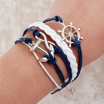Infinite Double Leather Charm  Bracelet