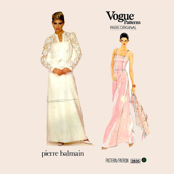 Pierre Balmain Evening gown jacket Sewing Pattern Vogue 2835