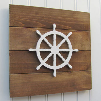 Rustic, Ships Wheel, Nautical, Nursery Wall Decor, Nautical Nursery, Nursery Decor, Nautical Decor, Nautical Art, Boys Room, Pallet Board