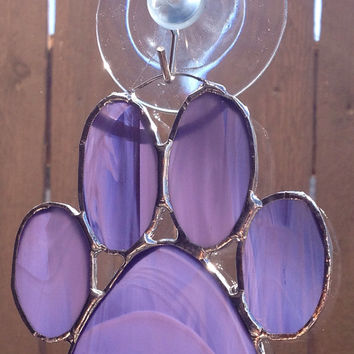 Purple Stained Glass Paw Print Suncatcher