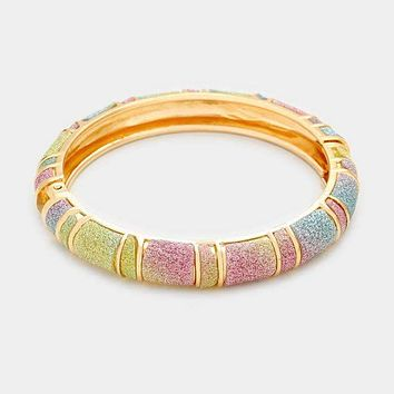Hinged Glitter Bangle Bracelet