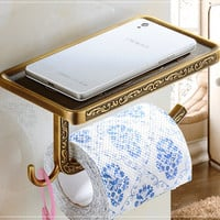 Vintage Euro Antique Brass Bathroom Toilet Paper Holder Artistic Roll Tissue Rack