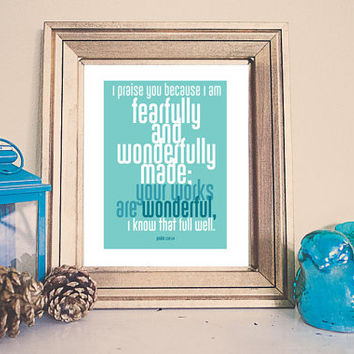 Fearfully and Wonderfully Made Bible Verse Printable /// Instant Download /// Psalm 139:14 ///  Nursery Printable Home Decor /// Aqua