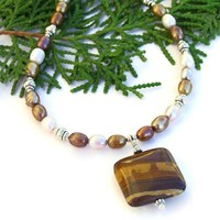 Southwest Picture Jasper Necklace, Pearls Handmade Beaded Artisan Jewelry
