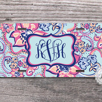 Monogram License Plate - Car License Tag , Monogram Flower Pattern , personalized front plate ,wedding gift