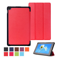 "Tri-Fold leather case Stand cover for Amazon kindle Fire HD 8 8"" tablet smart cover for kindle Fire HD 8 tablet skin +stylus"