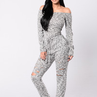 Talk In Your Sleep Jumpsuit - Charcoal