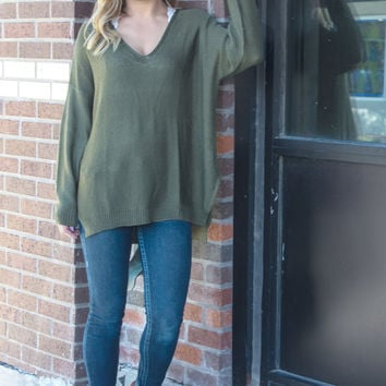 Take a Stand Oversized Sweater: Olive