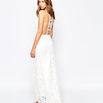 White Sand Fiji Lace Maxi Dress With Strap Detailed Front