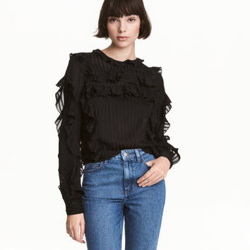 H&M Striped Ruffled Blouse $49.99