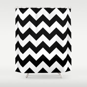 Black and White Chevron Shower Curtain by KCavender Designs