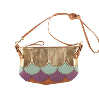 Vicious Fishes Cha Ching bag in tan leather with scales in gold, duck egg and purple