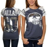 Dallas Cowboys Women's Navy Burnout Fitted Big D Jersey T-Shirt