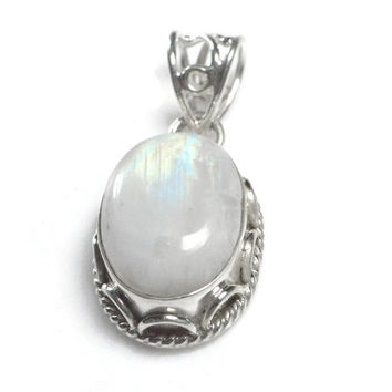 Sterling Silver Natural Rainbow Moonstone Pendant