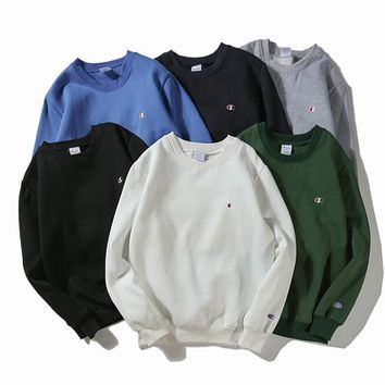 Champion simple minimalist logo embroidered men and women with cashmere collar hooded sweater