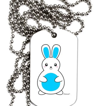 Cute Easter Bunny - Blue Adult Dog Tag Chain Necklace by TooLoud