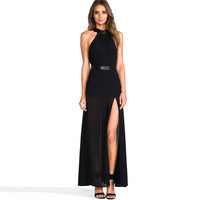 Black Halter Cutout Bow Tie Back Maxi Dress