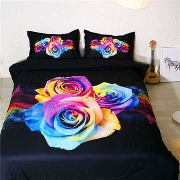 Cool 3D bedding set king size plant rose duvet cover queen size bedding for couple bedroom decor printed hotel wedding home textileAT_93_12