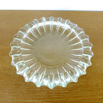 Large mid century glass party ashtray or dish with rippled edges, 10 inches wide
