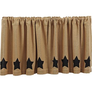 Burlap with Black Stars Tier Curtains 24""