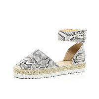 River Island Womens Grey snake print ankle strap espadrilles