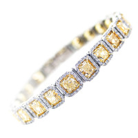 22 Carat Fancy Yellow Diamond Platinum Bracelet