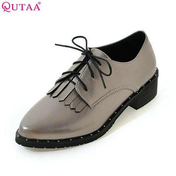 QUTAA 2017 Women Pumps Summer Lace Up Ladies Shoe Square Low Heel Tassel PU Leather Fashion Woman Wedding Shoes Size 34-43
